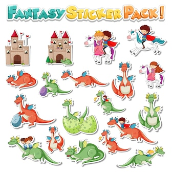 Sticker set with different fantasy cartoon characters