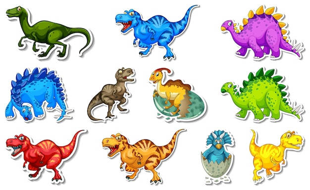 Set di adesivi con diversi tipi di personaggi dei cartoni animati di dinosauri