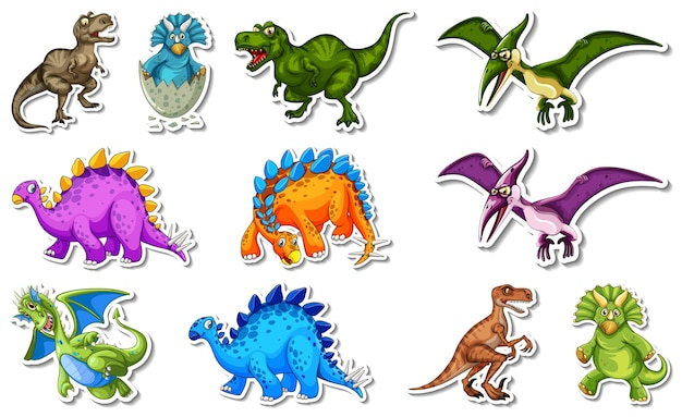 Sticker set with different types of dinosaurs cartoon characters