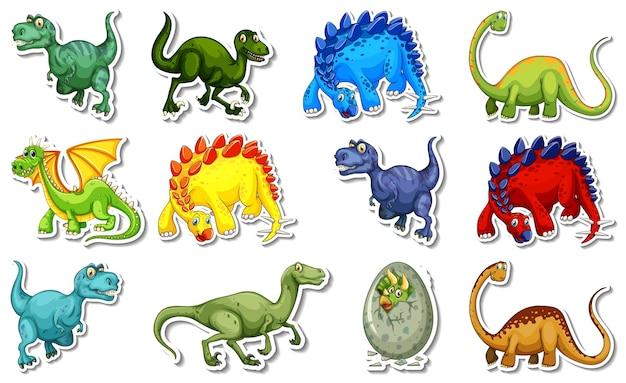 다양한 종류의 공룡 만화 캐릭터가 있는 스티커 세트
