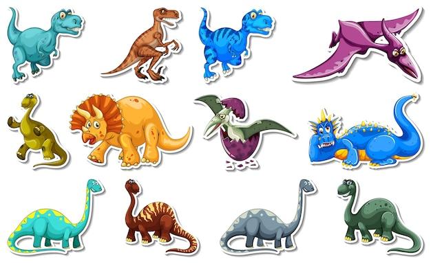 Набор наклеек с разными типами героев мультфильмов динозавров