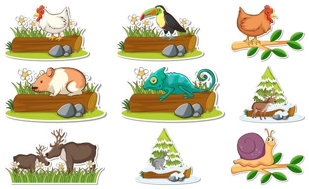 Набор наклеек с различными дикими животными и элементами природы