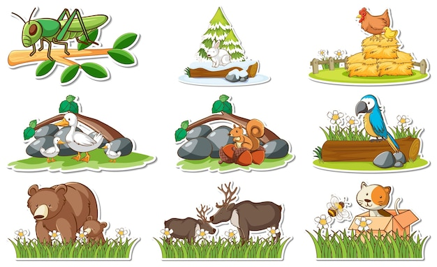 さまざまな野生動物や自然の要素がセットされたステッカー