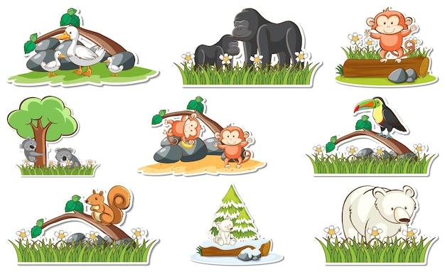 다른 야생 동물과 자연 요소가 있는 스티커 세트