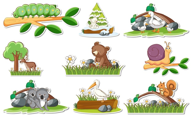 Sticker set with different wild animals and nature elements
