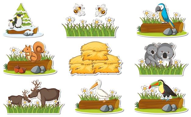 Set di adesivi con diversi animali selvatici ed elementi della natura