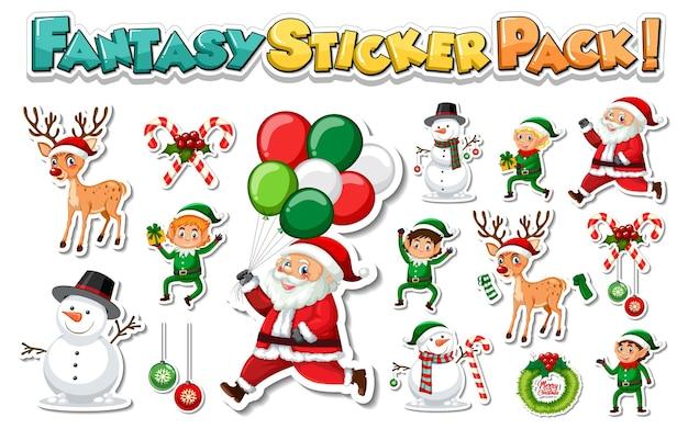 산타 클로스와 크리스마스 개체와 스티커 세트