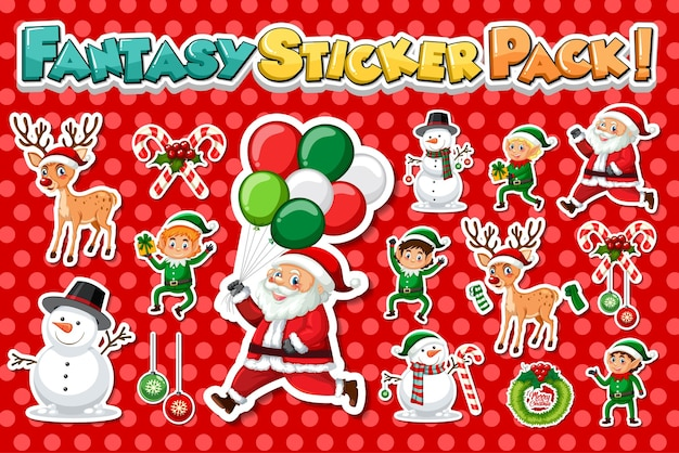 Sticker set with santa claus and christmas objects