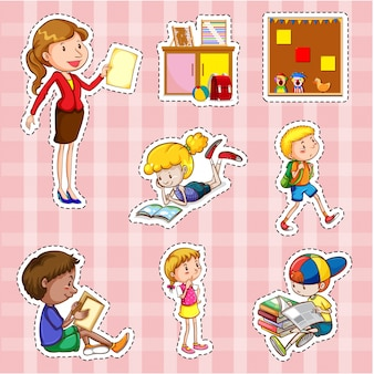 Set di adesivi con studenti e insegnante Vettore gratuito