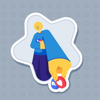 Sticker of smiley character giving emoji reaction   illustration