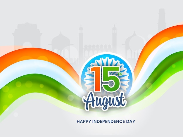 Sticker style 15th august text with ashoka wheel, tricolor wave on grey silhouette famous monument background.