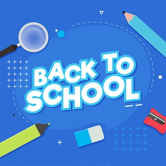 Sticker style back to school with education supplies elements on blue background.