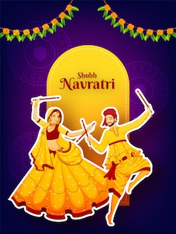 Sticker style character of couple dancing with dandiya stick