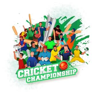 3d赤いボール、顔のないクリケット選手チーム、白いハーフトーンの背景に緑のブラシストロークのステッカースタイルのクリケット選手権のテキスト。