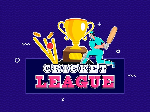 Sticker style cricket league text with batsman character, ball hitting wicket and trophy cup on blue background.