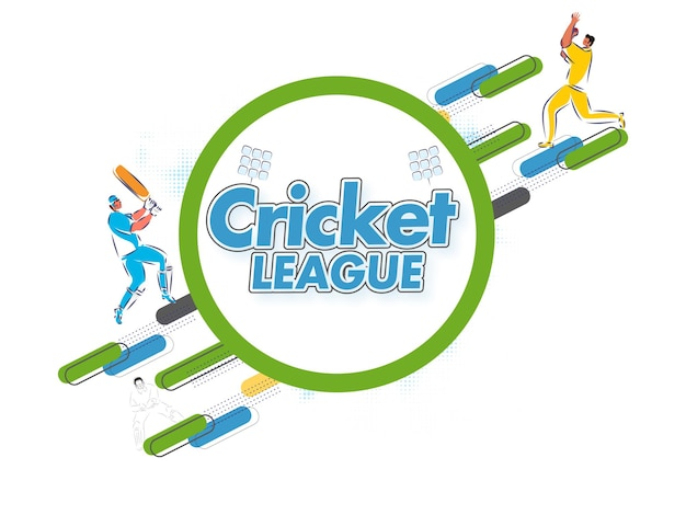 Sticker style cricket league text with cartoon batsman, bowler player on white background.
