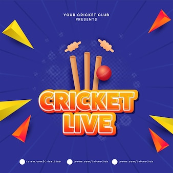 Sticker style cricket live text with 3d red ball hitting wicket stumps and geometric triangle elements on blue halftone rays background.
