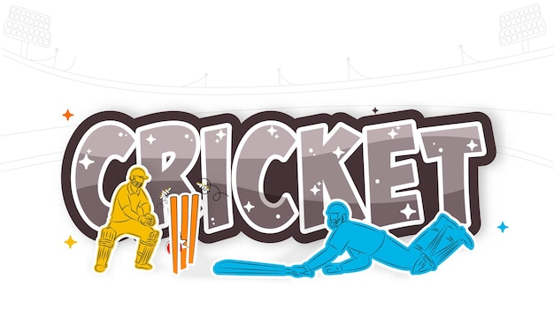 Sticker style cricket text with run out batsman and wicket keeper player on white background.