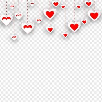 투명 한 배경에 매달려 스티커 스타일 심장 모양. 봐라
