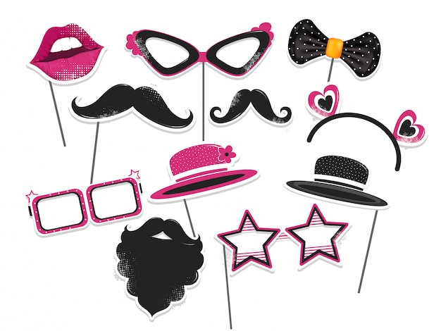 Sticker style party or photo props set on white