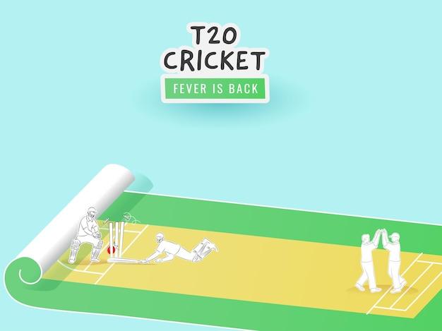 ステッカースタイルのt20クリケットフィーバーは、紙の巻物の遊び場でさまざまなポーズのクリケット選手とのバックテキストです。
