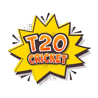 Sticker style t20 cricket text over comic burst on halftone effect white background.