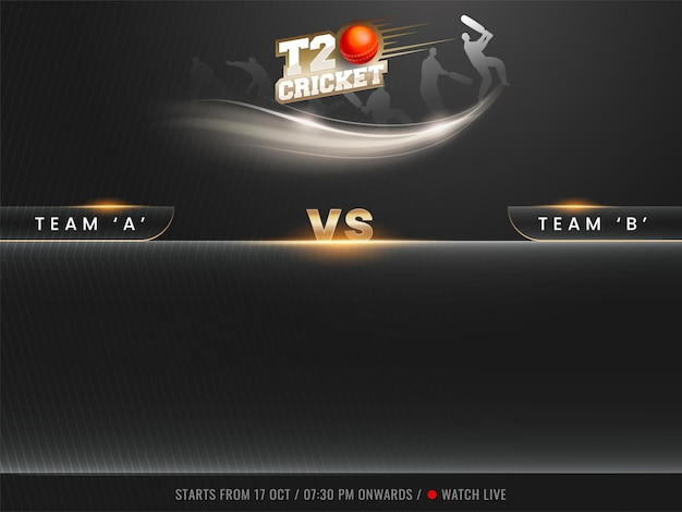 Sticker style t20 cricket text with 3d red ball, silhouette players and participating team a vs b on black stripe line background.