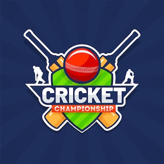 Sticker style text cricket championship with cricket equipments