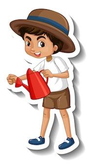 A sticker template of boy cartoon character