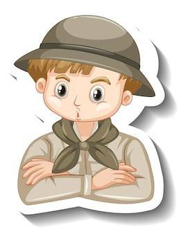 Un modello di adesivo del personaggio dei cartoni animati del ragazzo