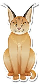 A sticker template of caracal cartoon character