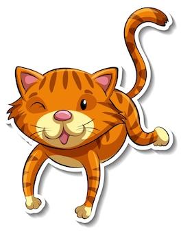A sticker template of cat cartoon character