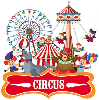 Sticker template for circus with many animals