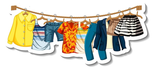 A sticker template of clothes racks with many clothes on hangers on white background