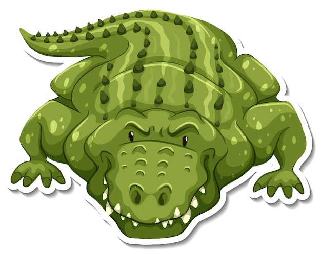 A sticker template of crocodile cartoon character