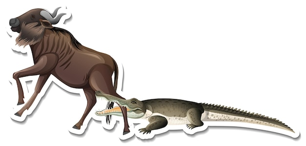 A sticker template of crocodile and wildebeest