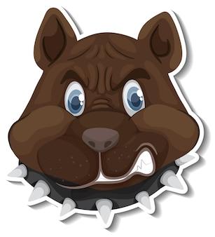 A sticker template of dog cartoon character