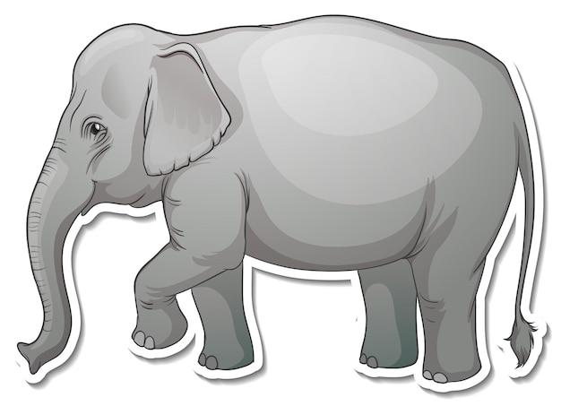 A sticker template of elephant cartoon character