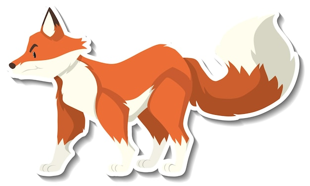 A sticker template of fox cartoon character
