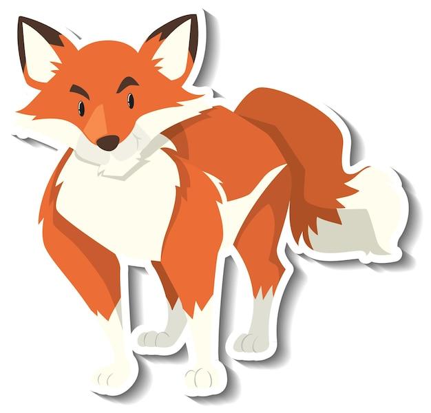 Un modello di adesivo del personaggio dei cartoni animati di volpe