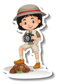 A sticker template of girl cartoon character