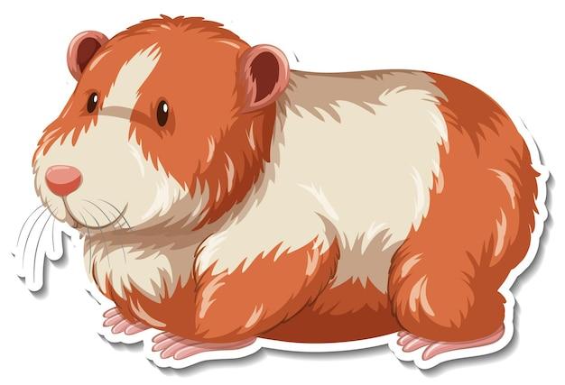 A sticker template of guinea pig cartoon character