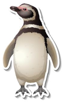 A sticker template of penguin cartoon character