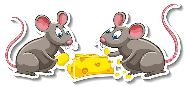 A sticker template of rat cartoon character