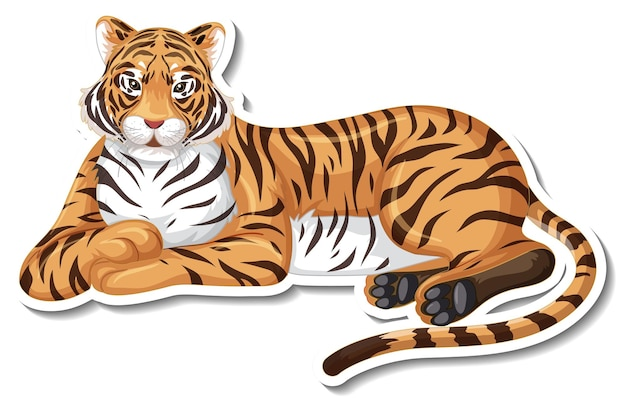 A sticker template of tiger cartoon character