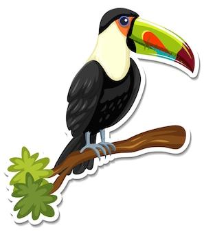A sticker template of toucan cartoon character