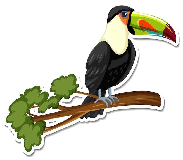 Un modello di adesivo del personaggio dei cartoni animati tucano