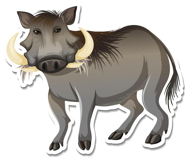 A sticker template of warthog cartoon character