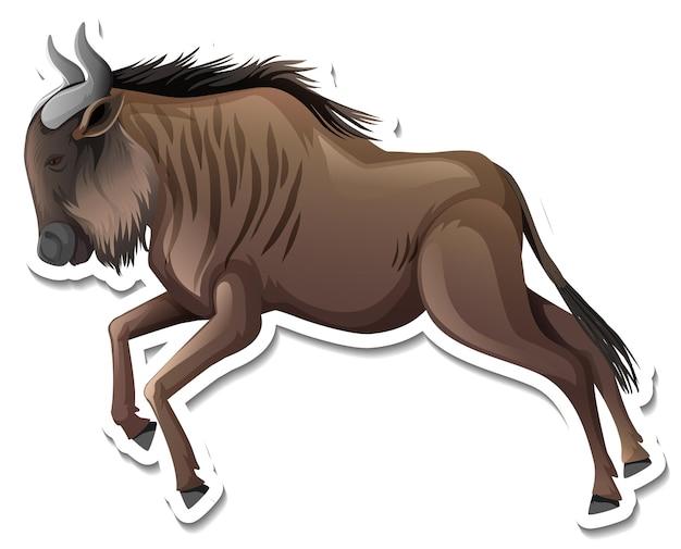 A sticker template of wildebeest cartoon character