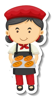 パン屋の女の子とステッカーテンプレートは、分離された焼きトレイを保持します